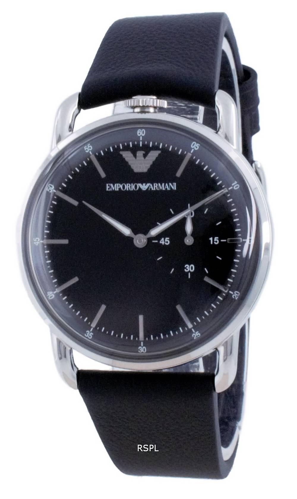 Emporio Armani musta kellonahkainen kvartsi AR11336 miesten kello