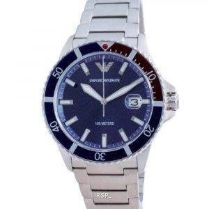 Emporio Armani sininen kellotaulu ruostumattomasta teräksestä valmistettu kvartsi AR11339 100M miesten kello