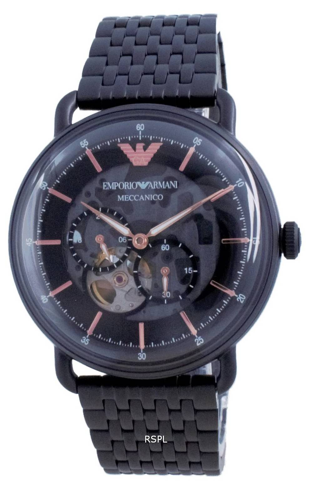 Emporio Armani Aviator musta kellotaulu ruostumattomasta teräksestä automaattinen AR60025 miesten kello