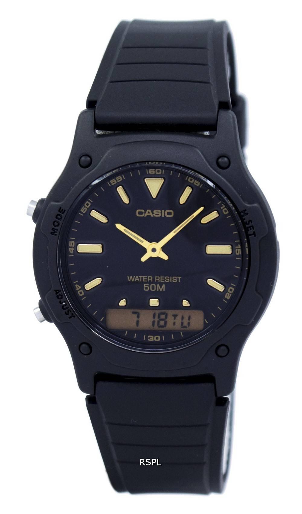 Casio analoginen digitaalikvartsi kaksinkertainen aika AW-49HE-1AVDF AW49HE-1AVDF miesten kello