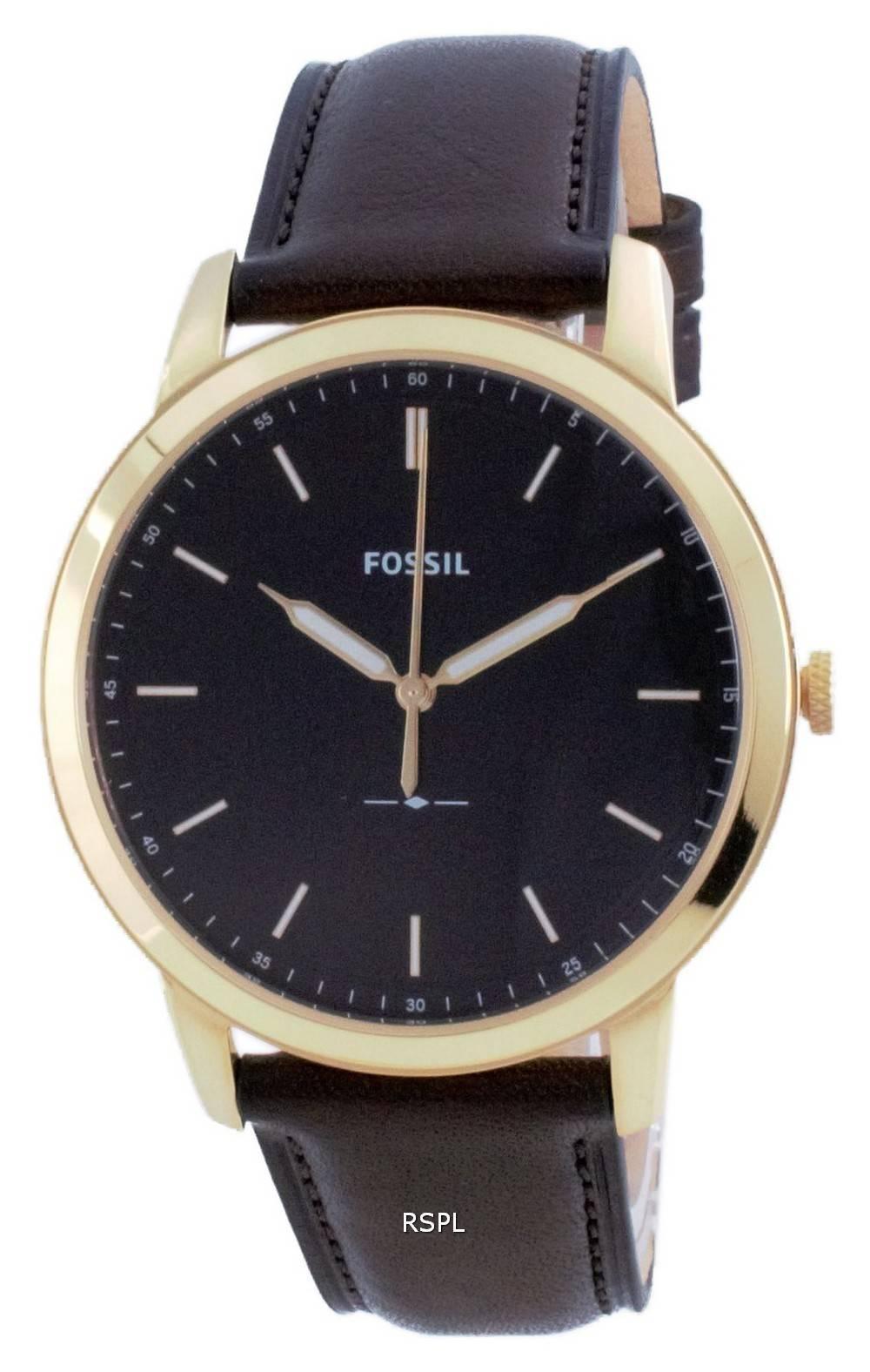 Fossil minimalistinen 3H musta kellotaulu nahka kvartsi FS5756 miesten kello