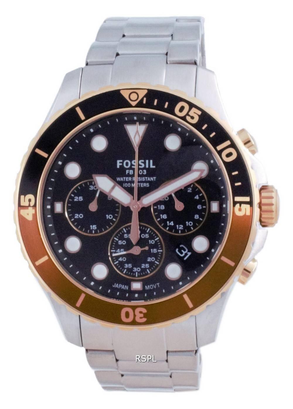 Fossil FB-03 Chronograph musta soittaa ruostumatonta terästä kvartsi FS5768 100M miesten kello