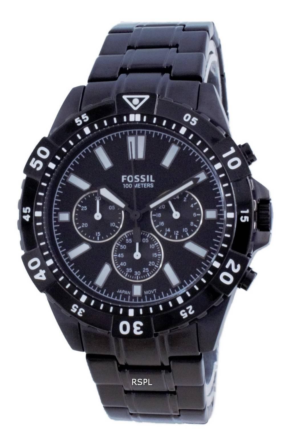 Fossil Garrett ruostumattomasta teräksestä valmistettu ajanoton kvartsi FS5773 100M miesten kello