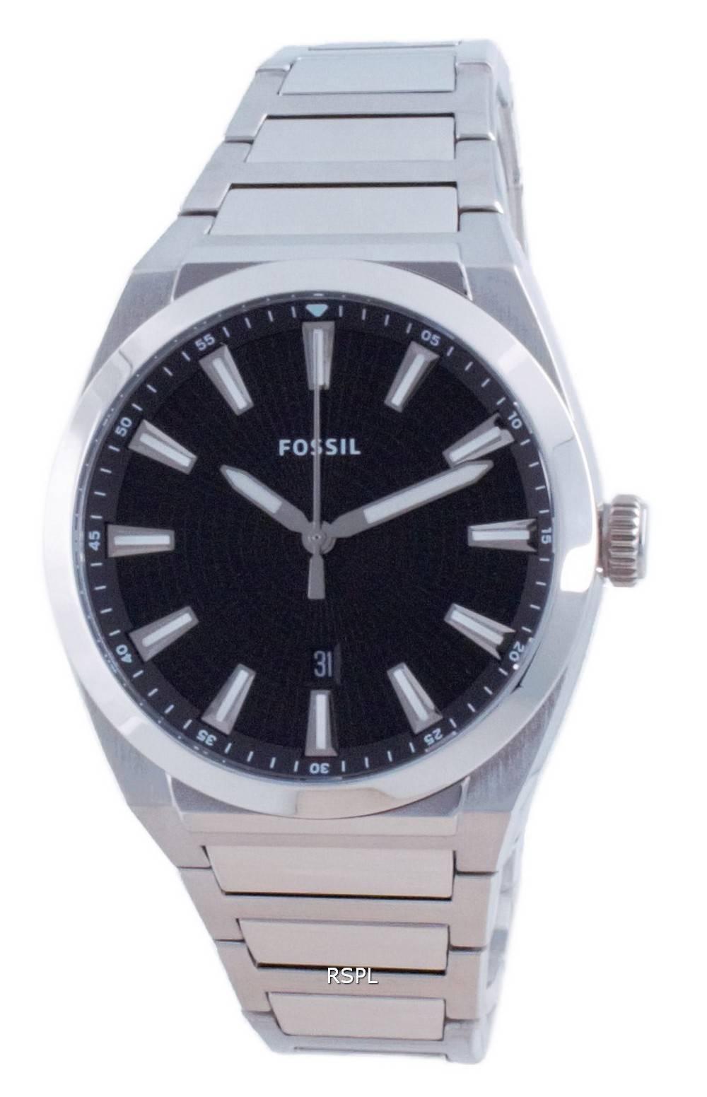 Fossil Everett musta kellotaulu ruostumattomasta teräksestä valmistettu kvartsi FS5821 miesten kello