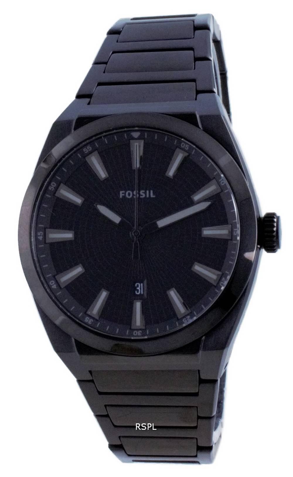 Fossil Everett musta kellotaulu ruostumattomasta teräksestä valmistettu kvartsi FS5824 miesten kello