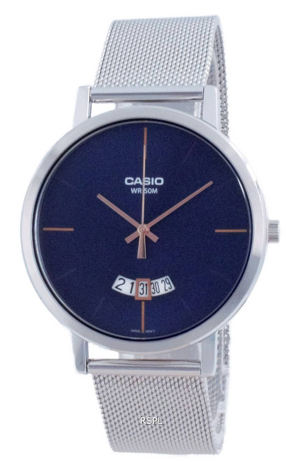 Casio Classic ruostumaton teräsverkko kvartsi MTP-B100M-2E MTPB100M-2E miesten kello