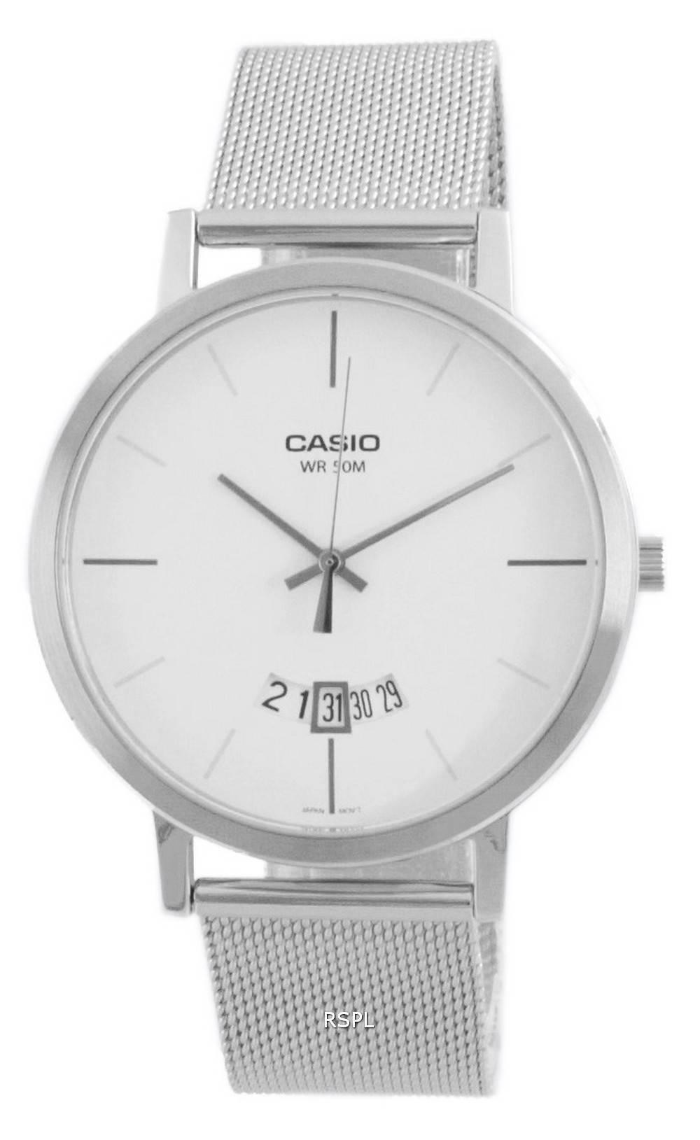 Casio Classic analoginen ruostumaton teräsverkko kvartsi MTP-B100M-7E MTPB100M-7E miesten kello
