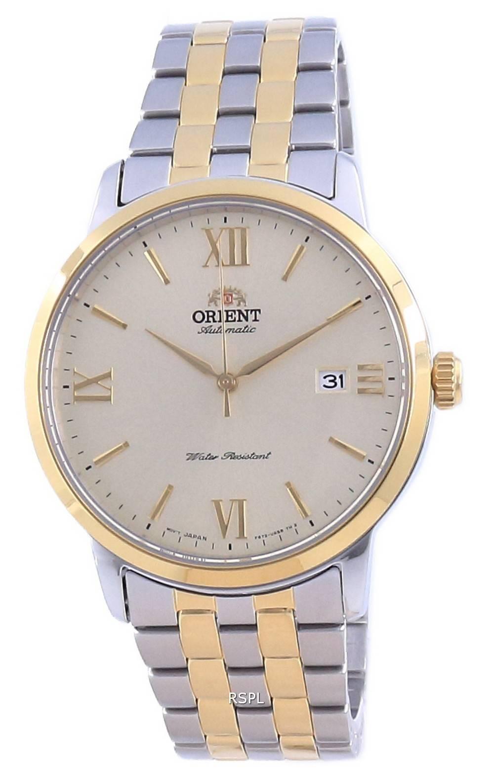 Orient nykyaikainen samppanjavalinta kaksisävyinen ruostumaton teräs automaattinen RA-AC0F08G10B miesten kello