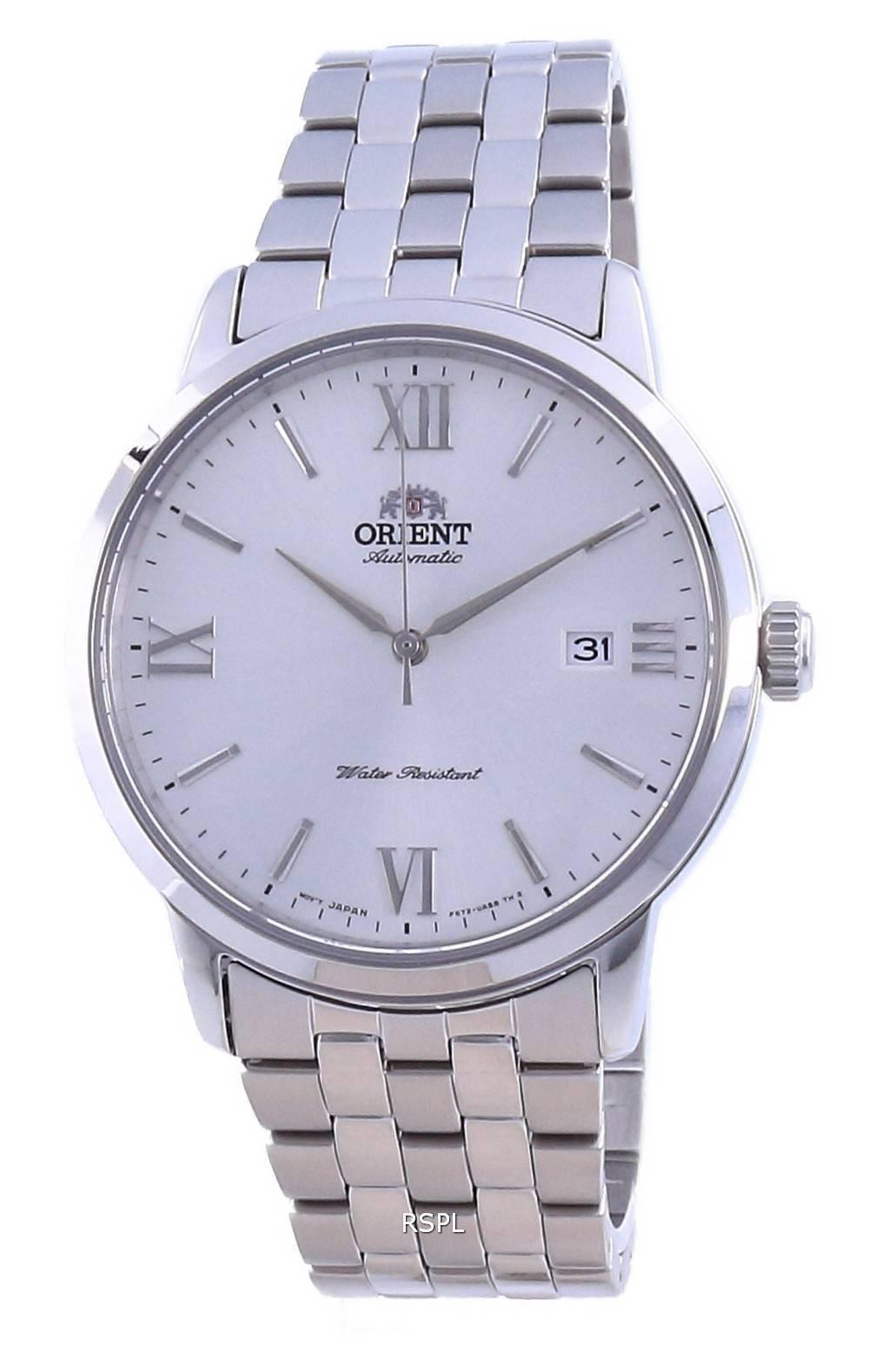 Orient Nykyaikainen valkoinen soittaa ruostumatonta terästä automaattinen RA-AC0F10S10B miesten kello