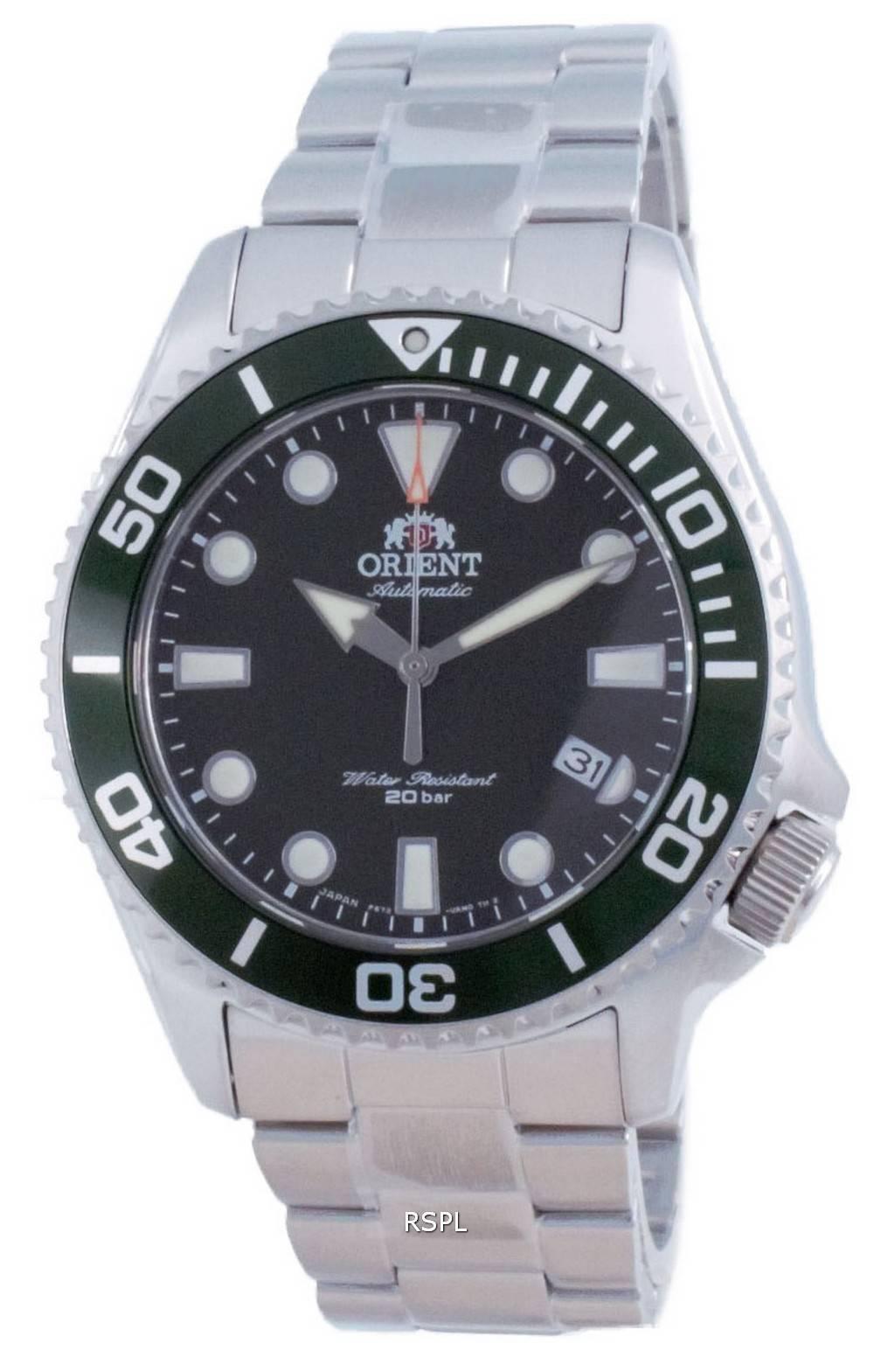 Orient Green Dial ruostumattomasta teräksestä valmistetun automaattisen sukeltajan RA-AC0K02E00C 200M miesten kello