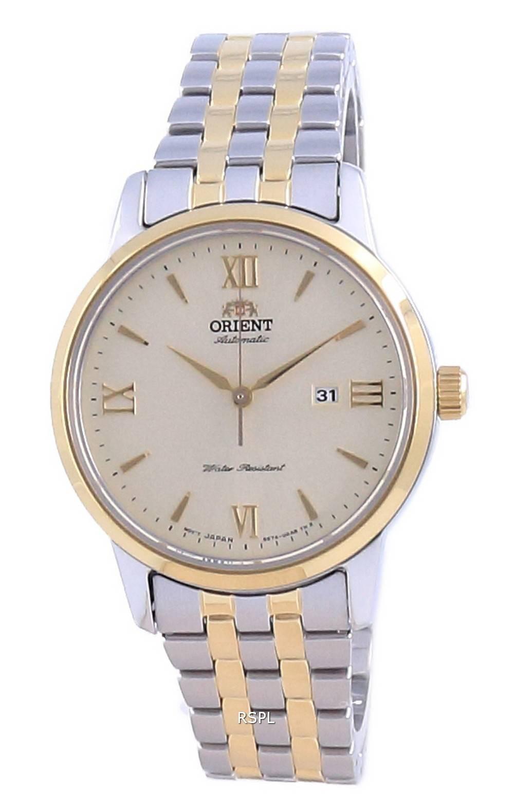 Orient nykyaikainen samppanjavalinta kaksisävyinen ruostumaton teräs automaattinen RA-NR2001G10B naisten kello