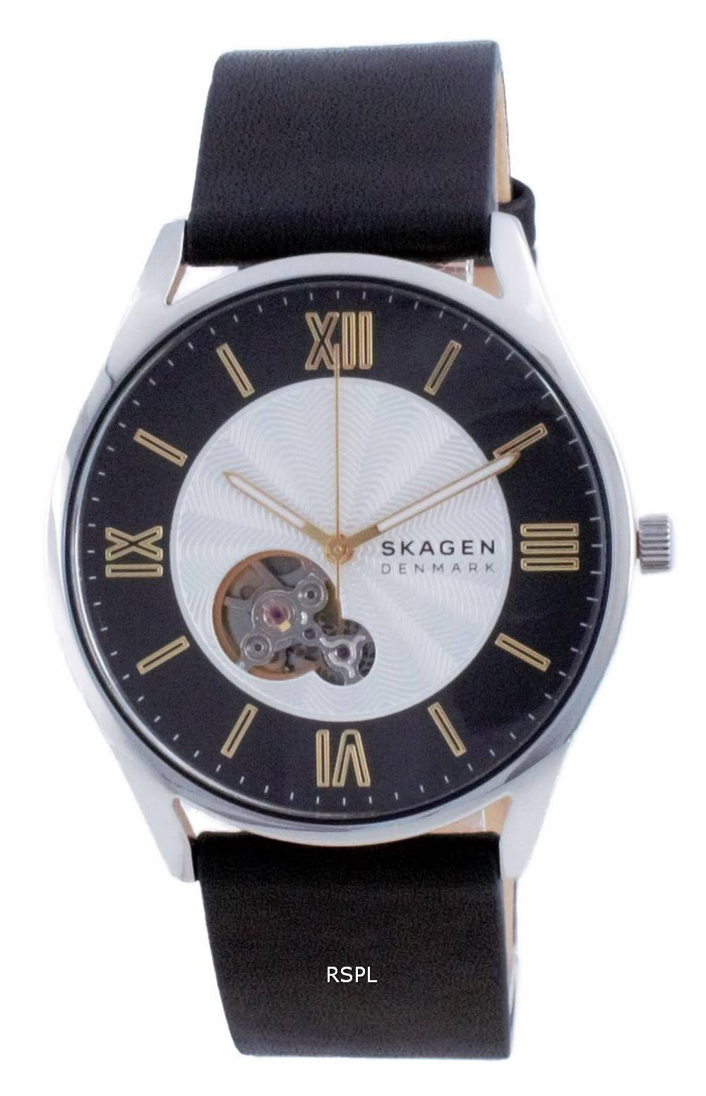 Skagen Holst avoimen sydämen nahkainen automaattinen SKW6710 miesten kello
