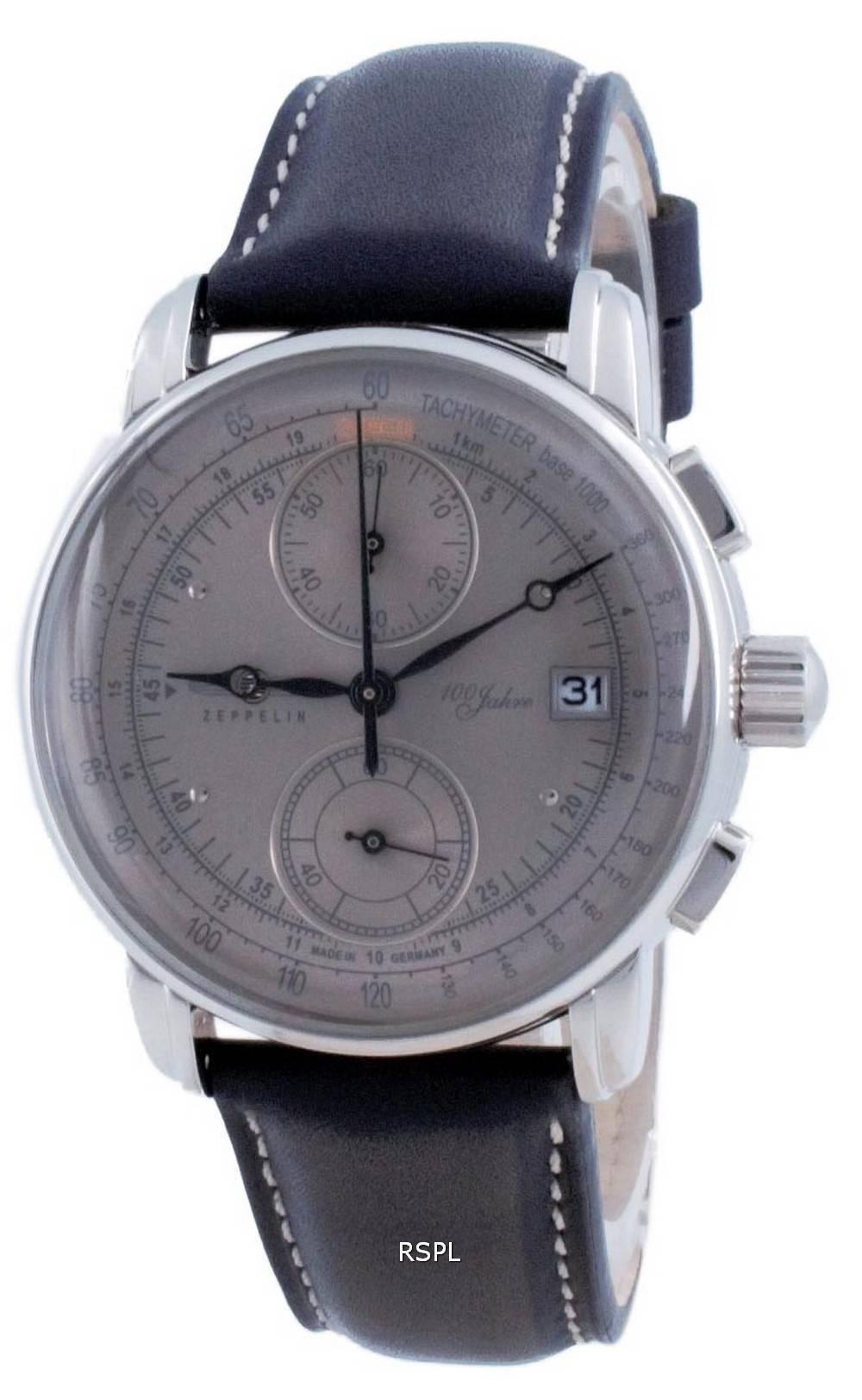 Zeppelin 100 Jahre Chronograph harmaa soittaa kvartsi 8670-0 86700 miesten kello